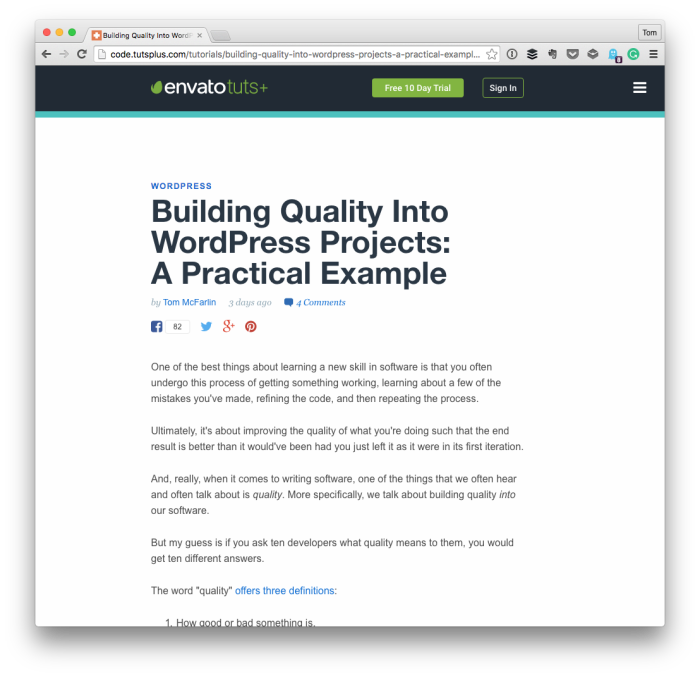 Building Quality into WordPress Projects - A screenshot of the article.