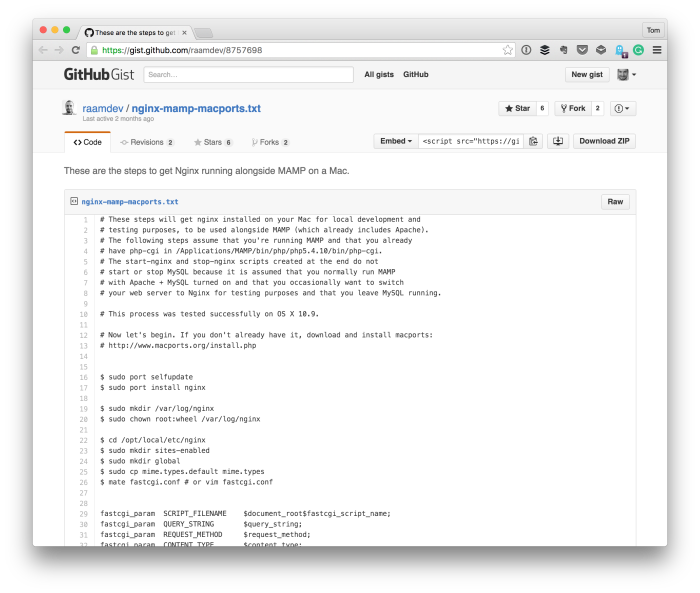Running Nginx on OS X - A Gist of Instructions