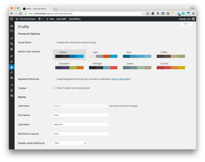 Update User Profiles in WordPress