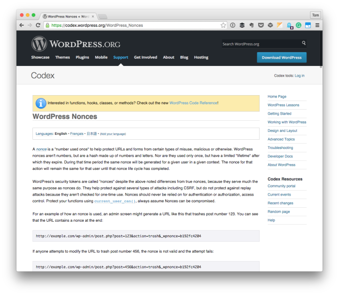 WordPress Security: Nonces in the Codex
