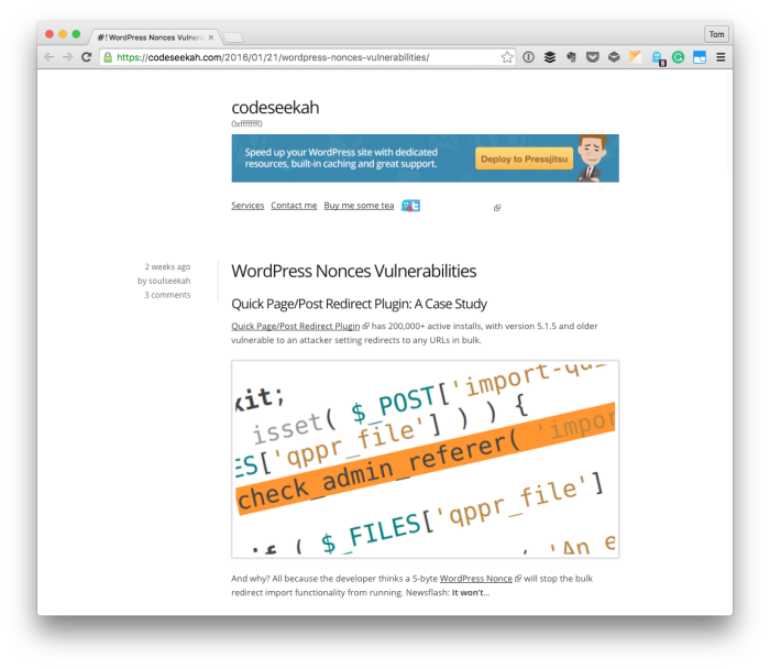 WordPress Security: A Nonce Case Study