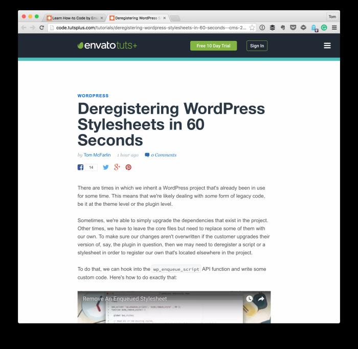Deregistering WordPress Stylesheets