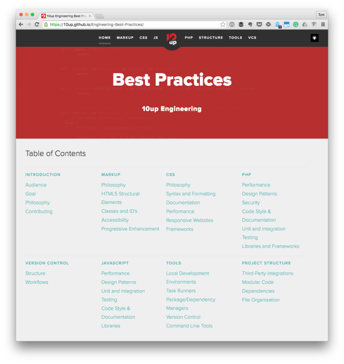 10up - Document Your Practices