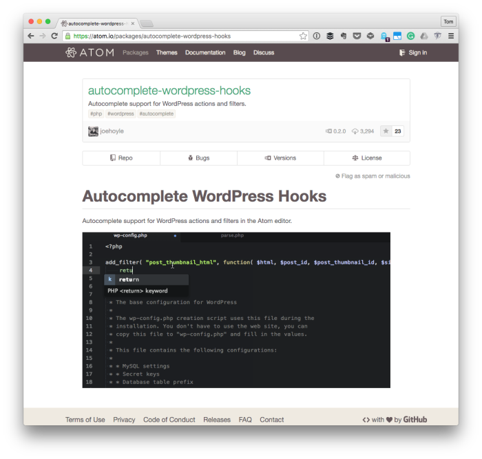 WordPress Autocomplete for Atom