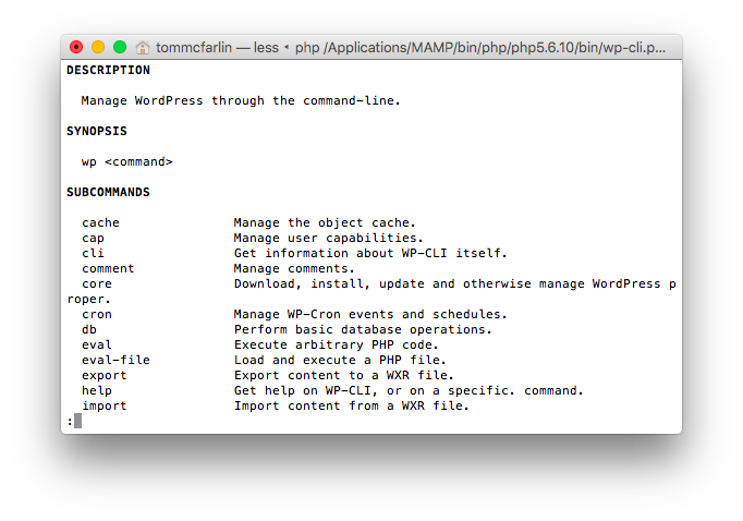 WP-CLI with MAMP in the Terminal