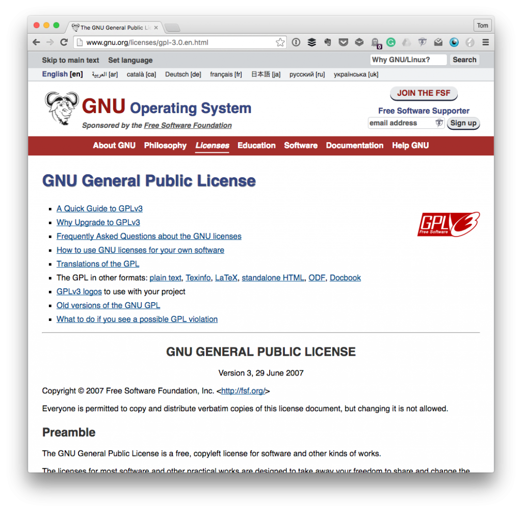 The GPL homepage for GPL attribution information.
