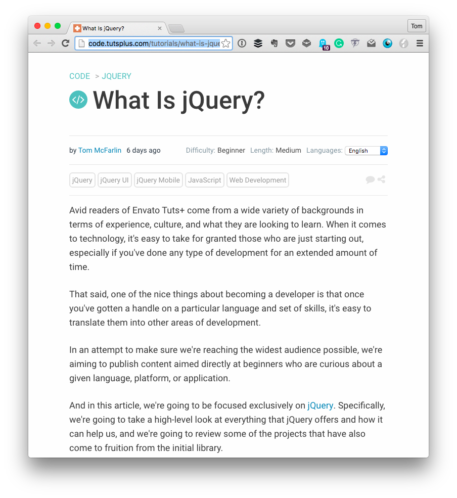 Resources for JavaScript and jQuery: jQuery
