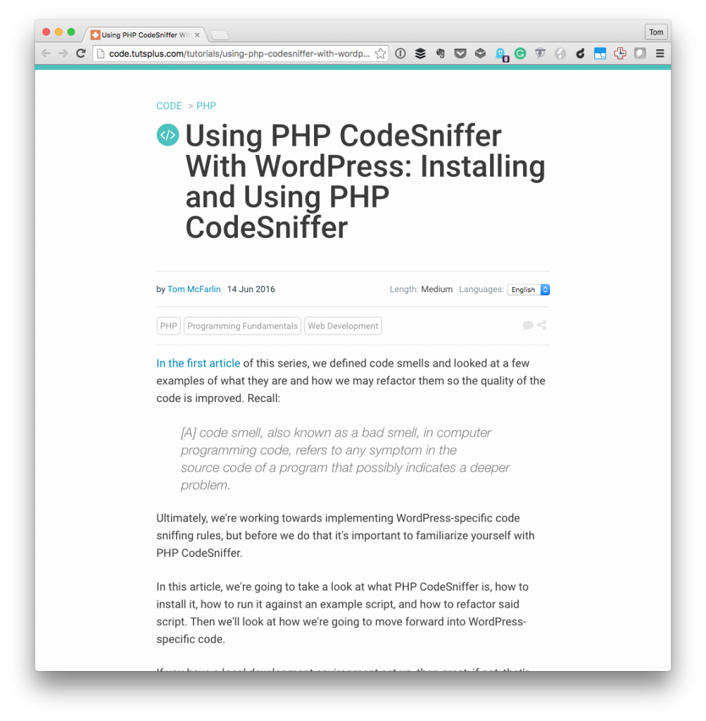 PHP CodeSniffer with WordPress