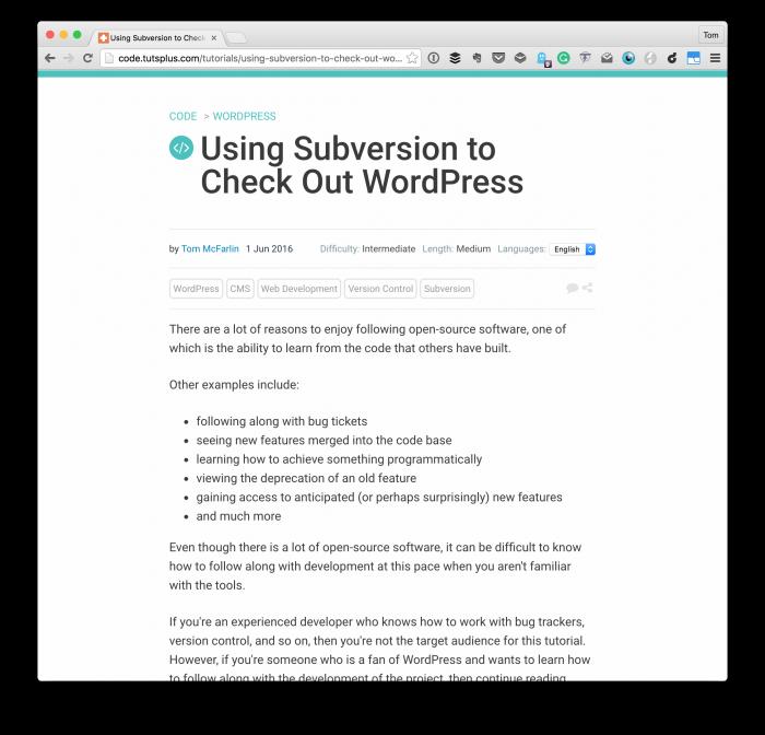 Checkout WordPress via Subversion