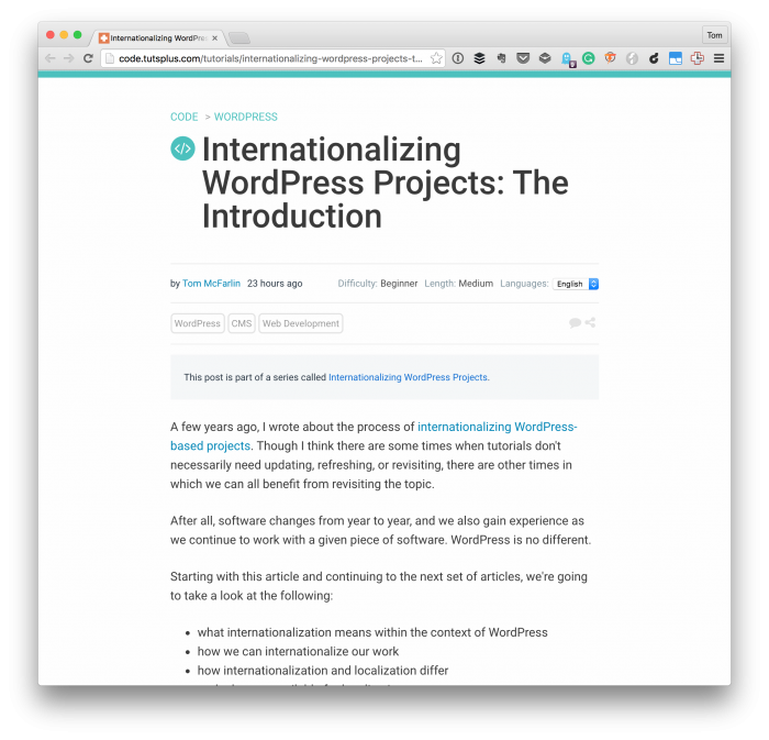 Internationalizing WordPress Projects