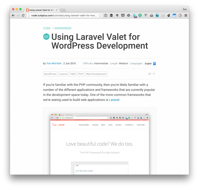 Laravel Valet for WordPress Deveopment