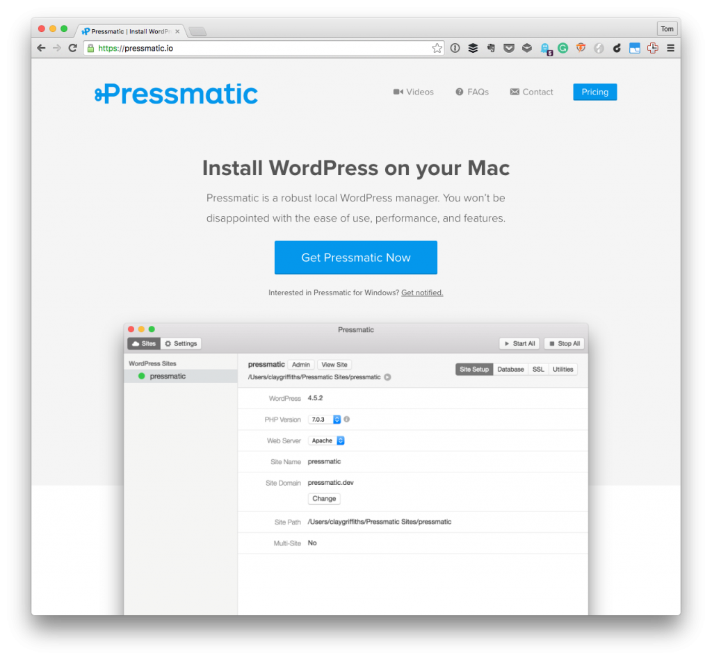 Pressmatic with WordPress Trunk