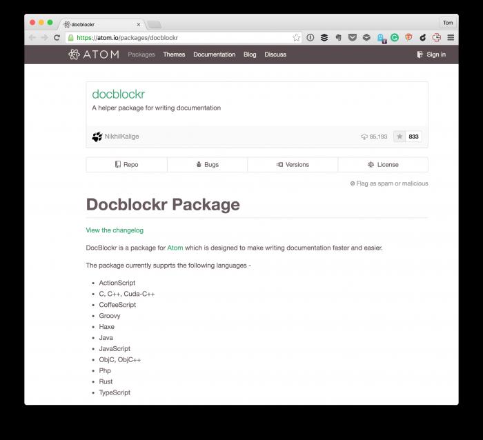 Docblockr: DocBlocks in Atom