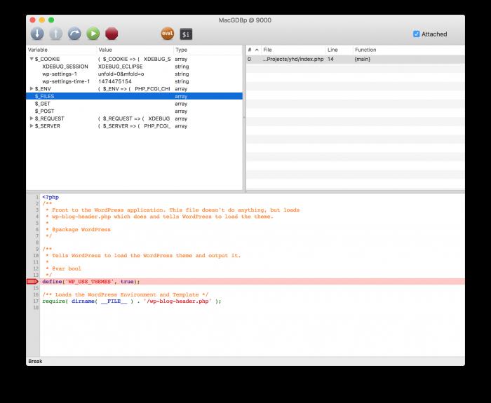 Debugging WordPress with MacGDBp