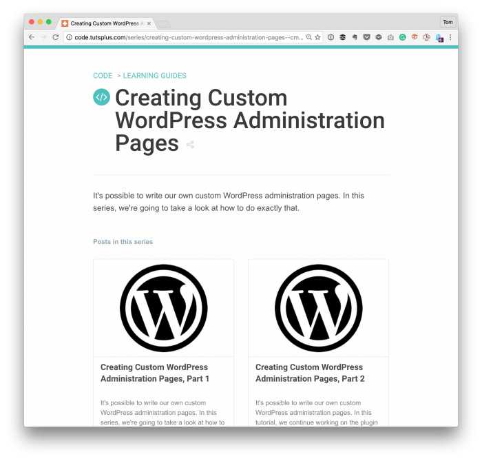 Custom WordPress Administration Pages