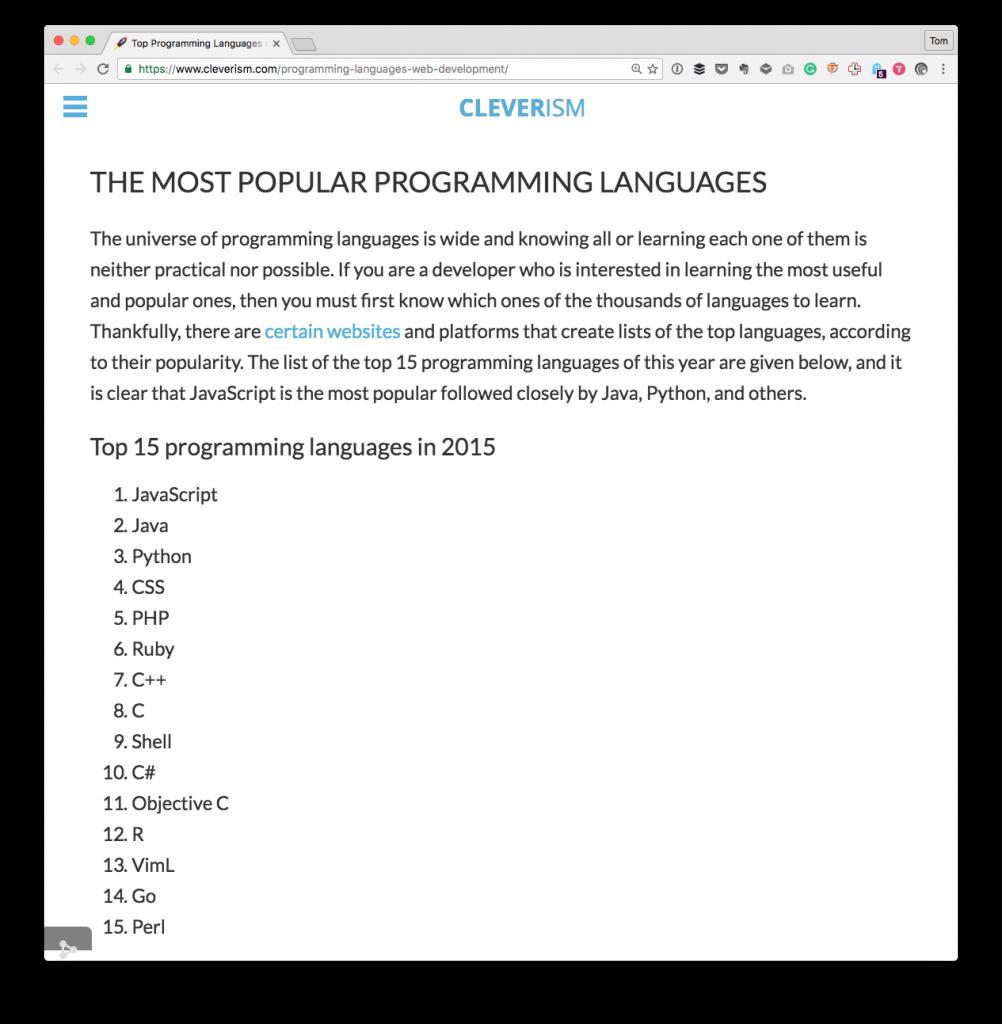 Development Tools: Programming Languages