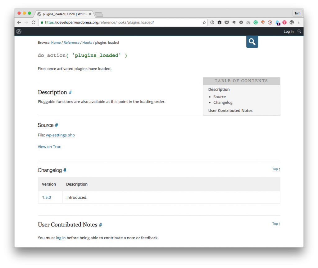 Custom WordPress Menu Page: A reference to plugins_loaded.