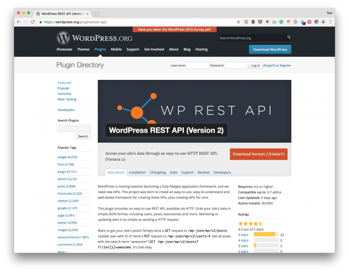 The WordPress REST API Plugin