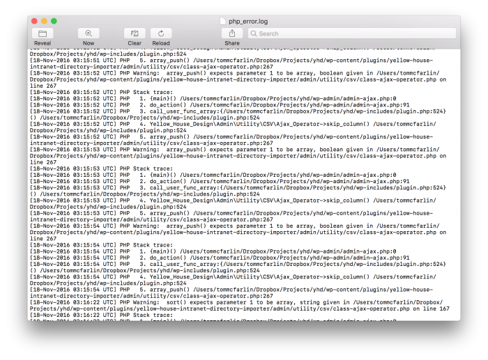 WordPress Errors in Console.app