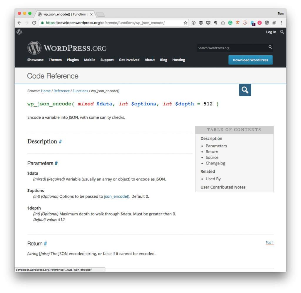 WordPress JSON Encoding