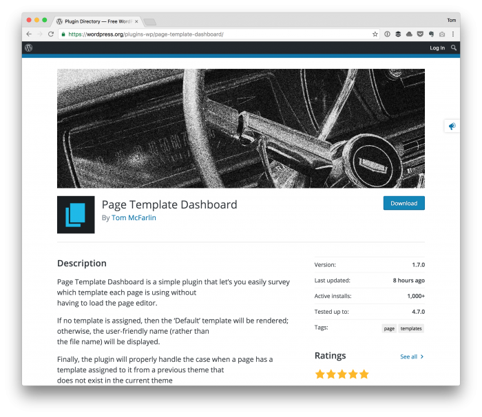 View WordPress Page Templates with Page Template Dashboard