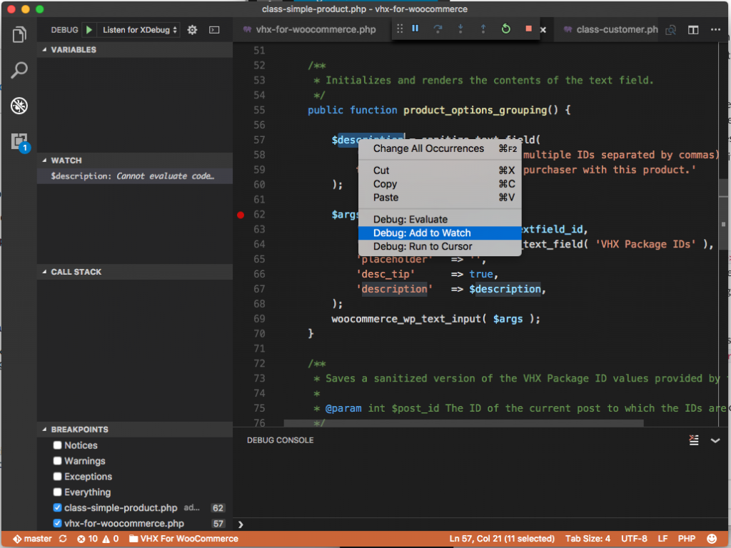 Visual Studio Code Debugger: Adding a Watch