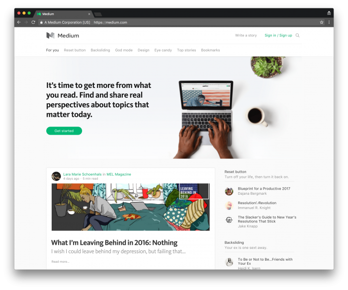 Using Medium: The Medium Homepage