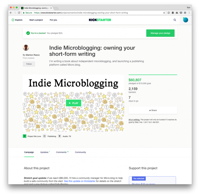 About Micro.blog: The Kickstarter Page