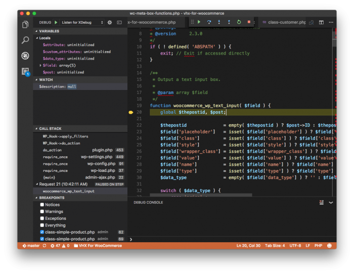 Visual Studio Code Debugger: WooCommerce Core