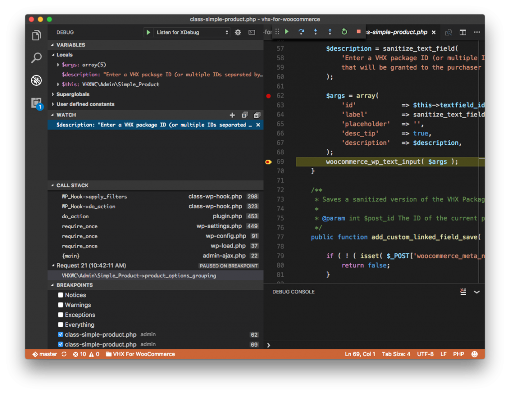 Visual Studio Code Debugger: Add a Watch