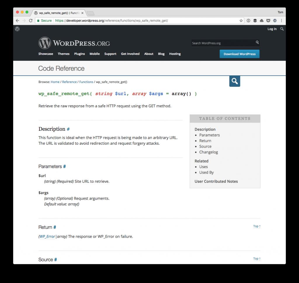 wp_safe_remote_get in the API Docs