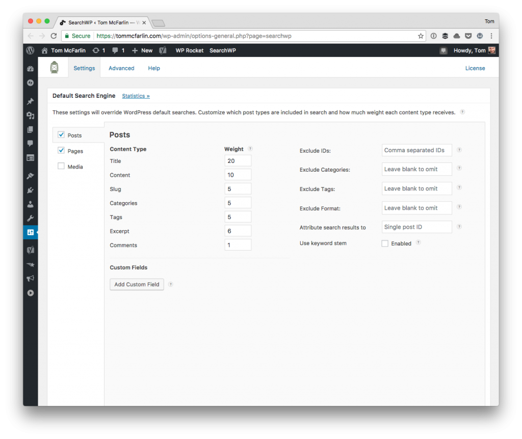 The SearchWP Settings Screen