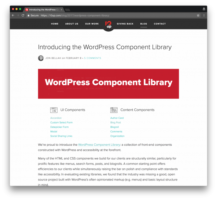 UI Component Libraries: The 10up UI Components