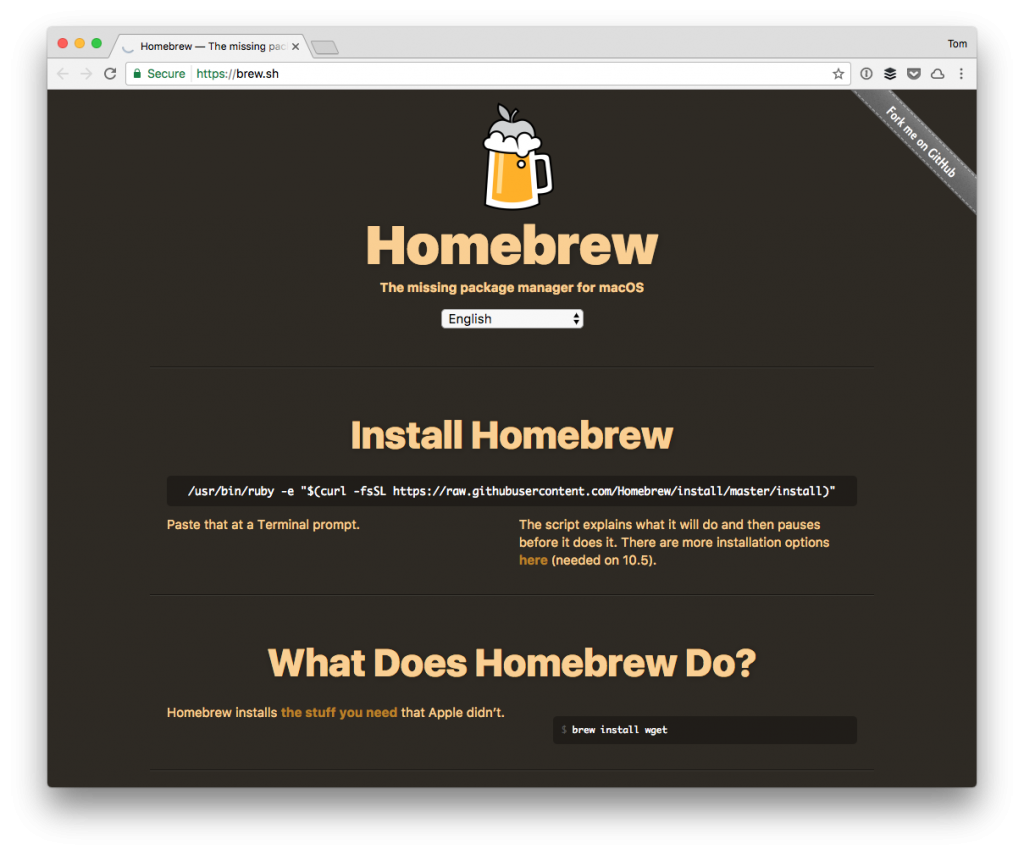 Homebrew, Node, and Gulp: The Homebrew Homepage