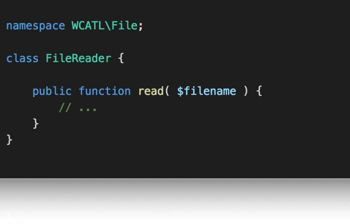 Namespaces and Autoloading: A namespaced class for reading files.