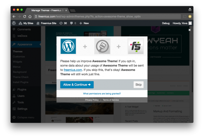 Insights for WordPress Themes: Opt-In