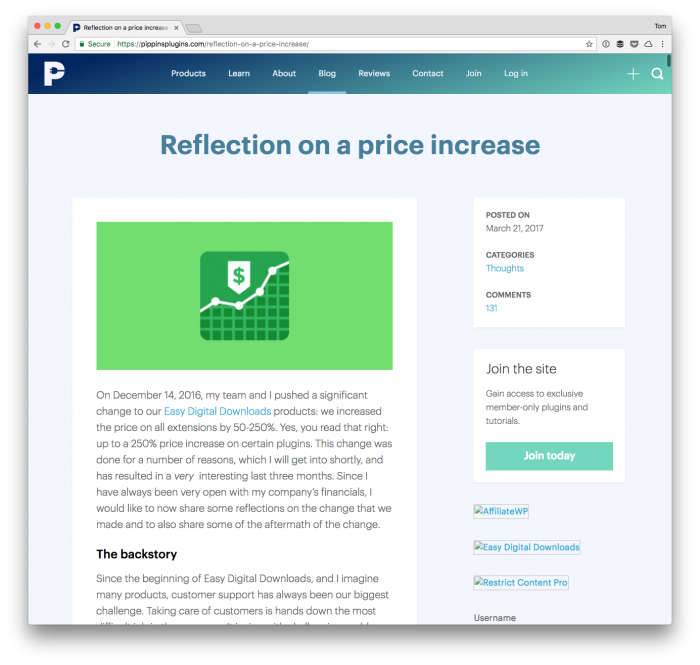 Reflections on a Price Increase