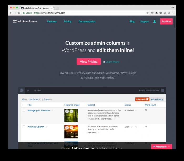 WordPress Admin Columns: WordPress Admin Columns: Admin Columns Pro