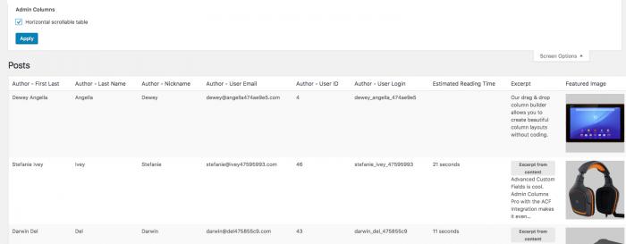 WordPress Admin Columns: Horizontal Scrolling