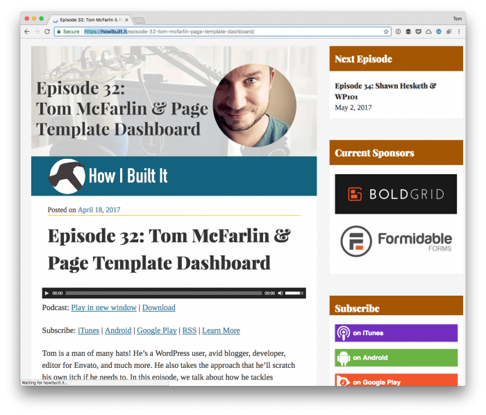 How I Built It Podcast: Page Template Dashboard