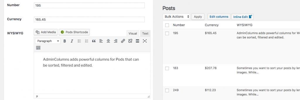 WordPress Admin Columns: Pods in Action