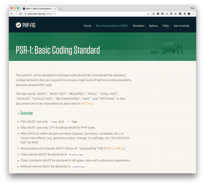 Basic Coding Standards via PSR-1