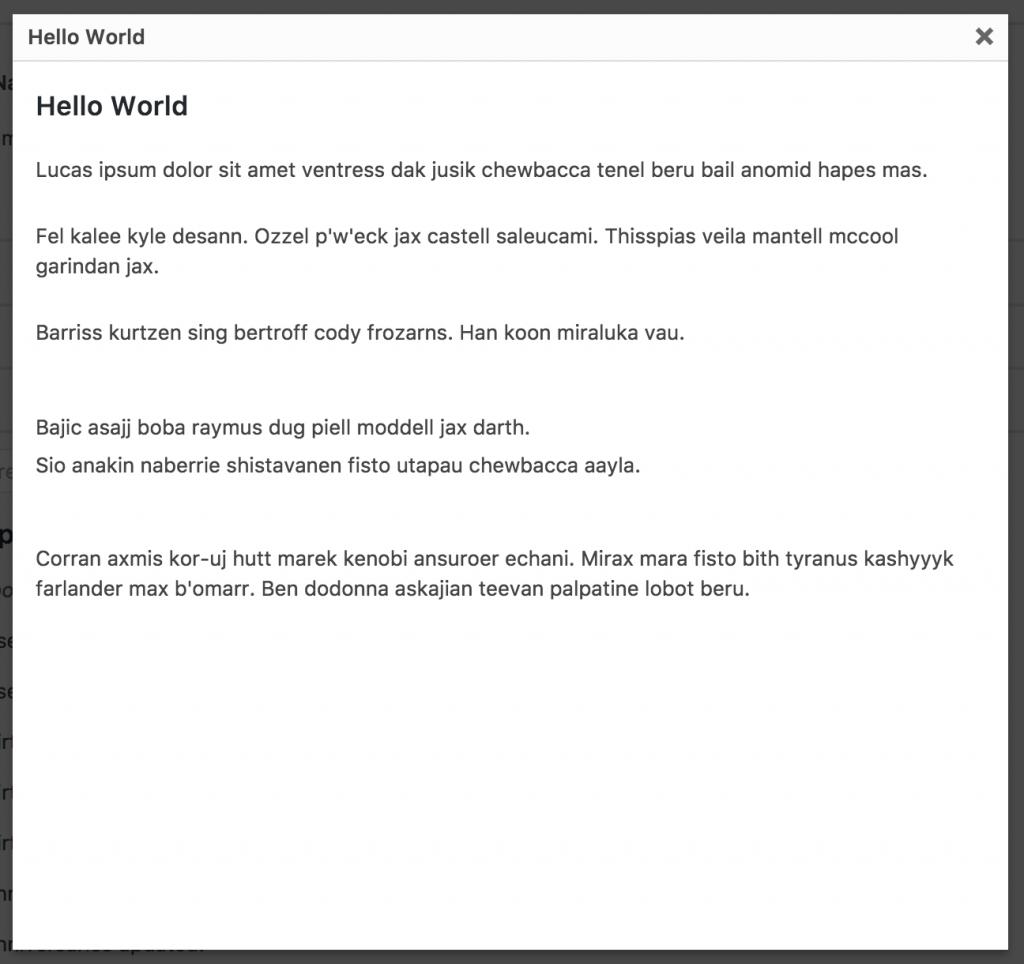 Adding WordPress Modal Dialogs: Static Title