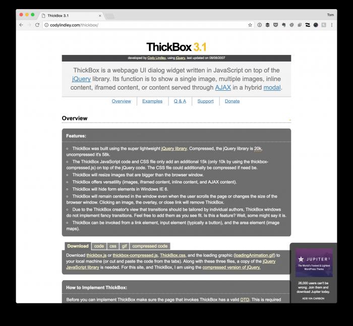 WordPress Modal Dialogs: Thickbox