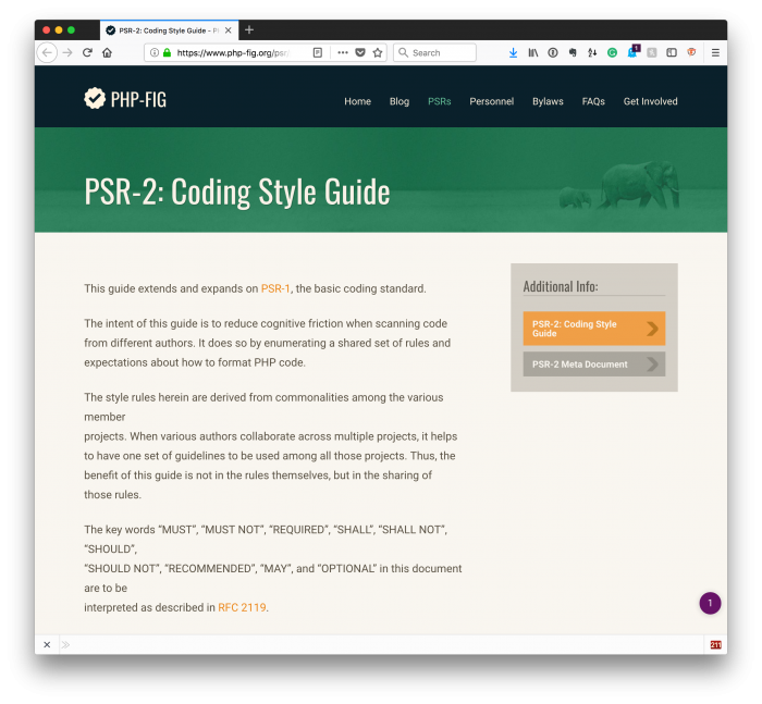 PHP Coding Standards with Code: PSR-2