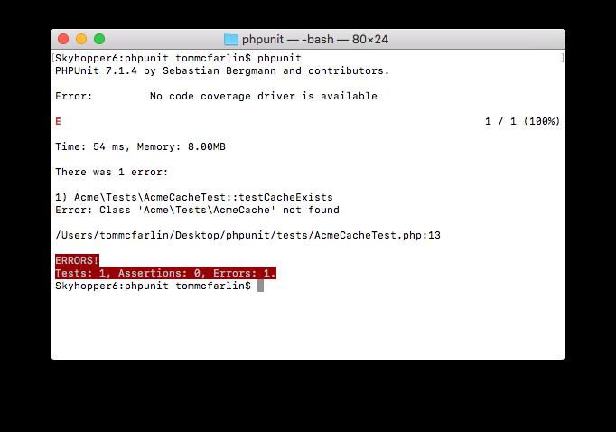 PHPUnit XML Configuration: A Failing Test