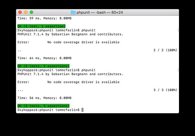 PHPUnit XML Configuration: Three Passing Tests