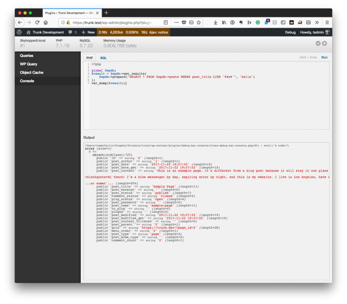 Debugging Within WordPress: Console Query