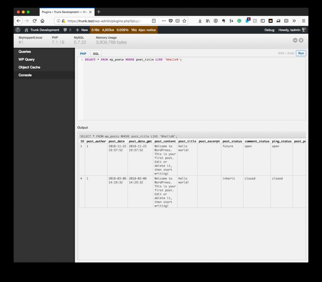 Debugging Within WordPress: SQL