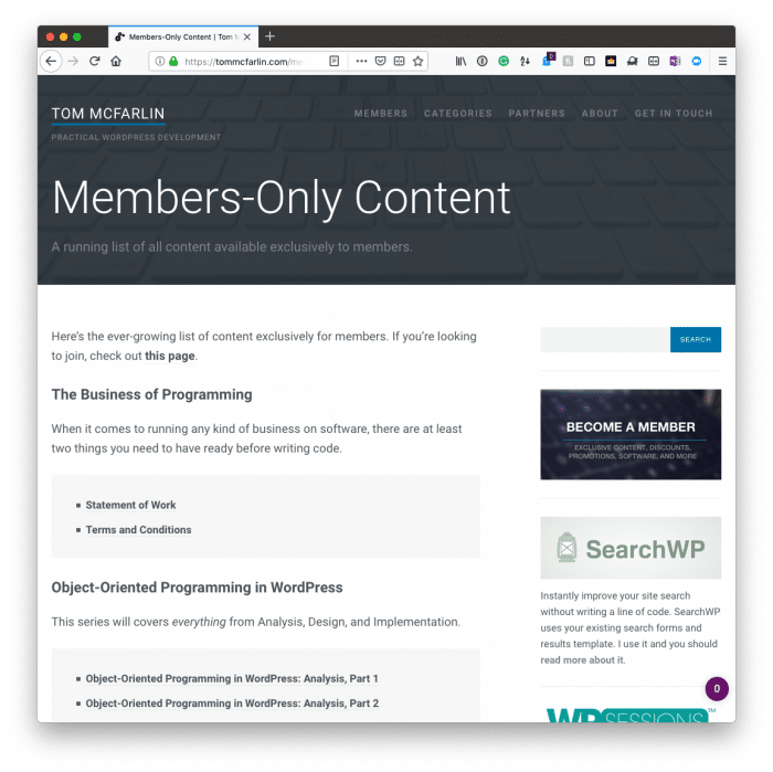Content for Site Members: Members Only Content